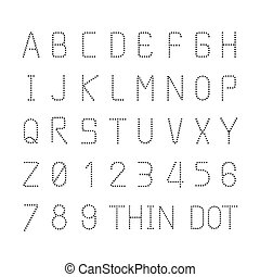 stil, sätta, alfabet, tecken, vektor, design, tunn, dopfunt...