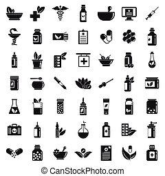stil, sätta, enkla symboler, homeopati