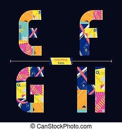 stil, sätta, färgrik, alfabet, efgh, geometrisk