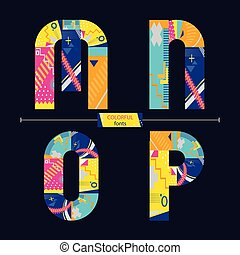 stil, sätta, färgrik, mnop, alfabet, geometrisk