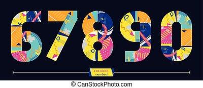 stil, sätta, färgrik, numrera, 67890, geometrisk