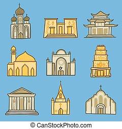 stil, sätta, hand, oavgjord, tempel, ikon