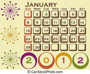 stil, sätta, januari 1, retro, kalender, 2012