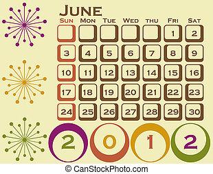 stil, sätta, juni, 1, retro, kalender, 2012