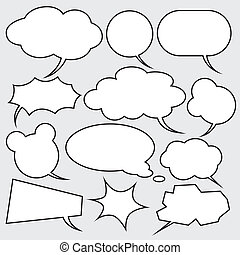 stil, sätta, komiker, vektor, anförande, bubblar