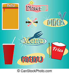 stil, sätta, middagsgäst, meny, vektor, retro