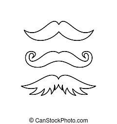 stil, sätta, skissera, hipster, ikon, mustasch