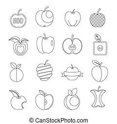 stil, sätta, skissera, ikonen, design, logo, äpple