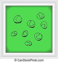 stil, sätta, tecknad film, boll