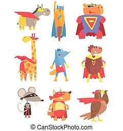 stil, satz, angezogene , animas, geometrisch, aufkleber, superhelden