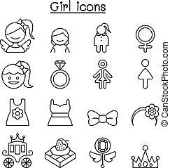 stil, satz, dünne linie, m�dchen, ikone