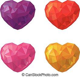 stil, satz, dreieck, dayl.eps, poly, mehrfarbig, niedrig, herzen, valentine