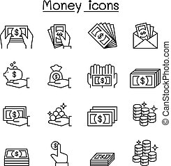 stil, satz, &, geld, hand, dünne linie, ikone