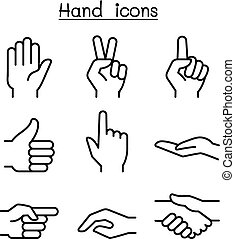 stil, satz, hand, dünne linie, ikone