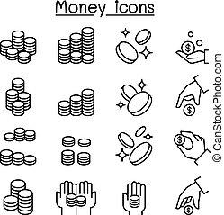 stil, satz, &, hand, dünne linie, muenze, ikone