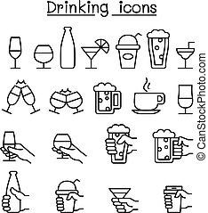 stil, satz, hand, glas, trinken, dünne linie, ikone