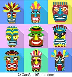 stil, satz, ikone, wohnung, maske, zulu