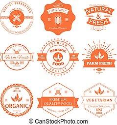 stil, satz, organisches essen, weinlese, etiketten, elemente, abzeichen