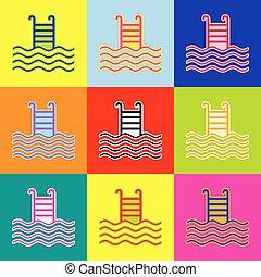 stil, satz, pop-art, bunte, heiligenbilder, zeichen., 3, colors., vector., teich, schwimmender