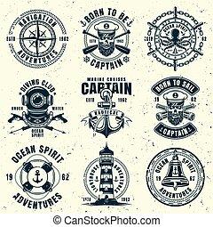 stil, satz, weinlese, embleme, vektor, neun, nautisch