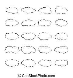 stil, satz, wolkenhimmel, grobdarstellung, kumulus, vektor