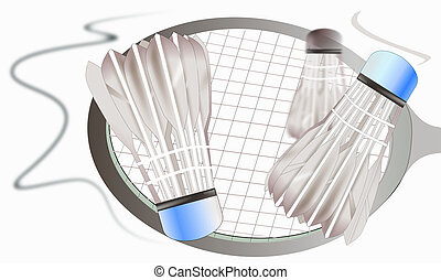 stil, schlag, badminton, design, schläger- sport