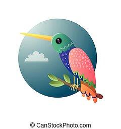 stil, schoenheit, bunte, sitzen, baum, blumen-, klein, brunch, karikatur, kolibri