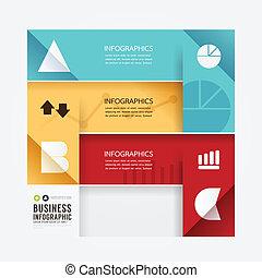 stil, sein, buechse, minimal, modern, template., infographic, design, gebraucht