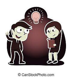 stil, seine, wenn, idee, schreibende, geschäftsmann, retro, gerieten, bericht, partner