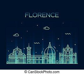 stil, silhouette, linear, skyline, vektor, florenz