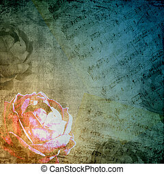 stil, silhouette, romantische , rose, notizen, retro, hintergrund, musikalisches