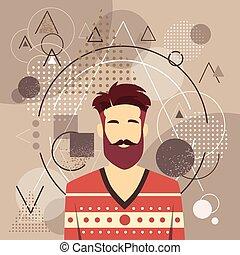 stil, skägg, mode, manlig, tillfällig, avatar, profil, stående, man, ikon, person, ansikte, grabb, silhuett, hipster