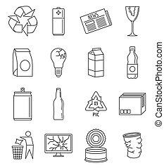 stil, skissera, det återvinner, sätta, värld, dag, ikon