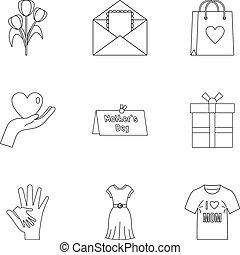 stil, skissera, fostrar, sätta, ikon, dag, lycklig