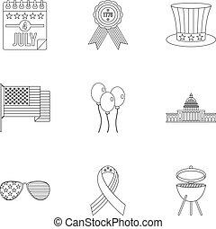 stil, skissera, sätta, amerikan, dag, oberoende, ikon