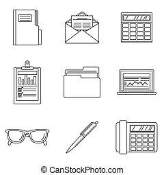 stil, skissera, sätta, internationell, bokföring, dag, ikon