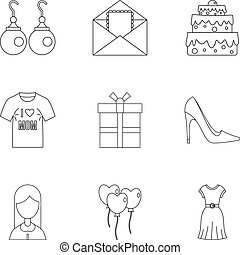 stil, skissera, sätta, mamma, dag, ikon