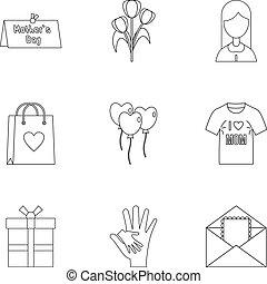 stil, skissera, sätta, mamma, ikon, dag, lycklig