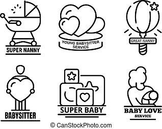 stil, skissera, sätta, nymodig, barnvakt, logo
