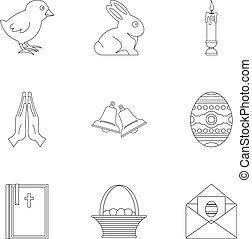 stil, skissera, sätta, påsk, dag, ikon