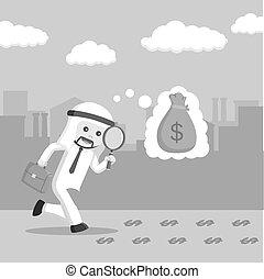 stil, skugga, pengar, arab, glas, svart, affärsmän, följa efter, vit, förstorar