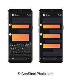 stil, smartphone, dialoger, mall, prata, mockup, sms, mörk, bubbles., vektor, pratstund, composer., tom