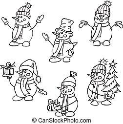 stil, snowmen, hand, scarves., söt, snö, jul, skissa, vektor, hattar, illustration., oavgjord, mans., gåvor