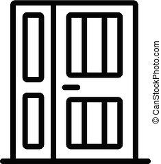 stil, stängd, ytterdörr, ikon, skissera