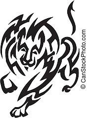 stil, stammes-, -, abbildung, löwe, vektor