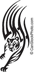 stil, stammes-, -, abbildung, tiger, vektor