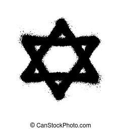 stil, symbol, graffiti, david., vektor, stern, abbildung, overspray, aus, schwarz, white.