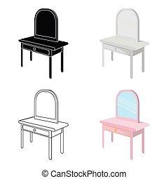 stil, symbol, web., isometric, illustration, singel, vektor, påklädning, inre, bord, spegel., ikon, tecknad film, möblemang, block