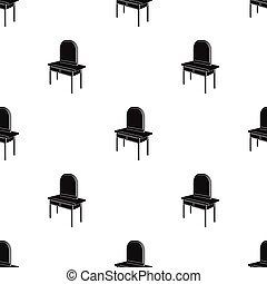 stil, symbol, web., isometric, illustration, singel, vektor, svart, påklädning, inre, bord, spegel., ikon, möblemang, block