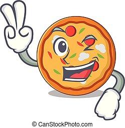 stil, tecken, två, finger, tecknad film, pizza